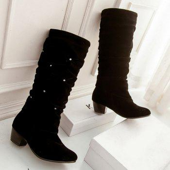 Trendy Ruched and Rhinestone Design Women's Mid-Calf Boots - BLACK 39