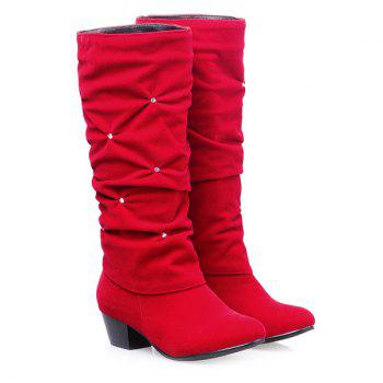 Trendy Ruched and Rhinestone Design Women's Mid-Calf Boots - RED 43