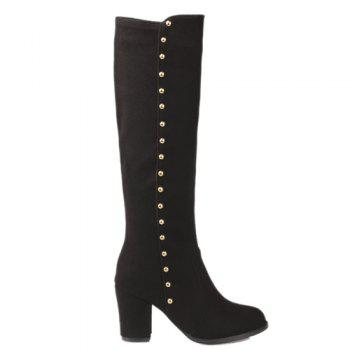 Stylish Rivet and Chunky Heel Design Women's Mid-Calf Boots - BLACK 42