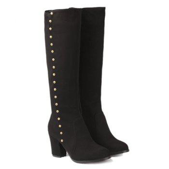 Stylish Rivet and Chunky Heel Design Women's Mid-Calf Boots - BLACK 39