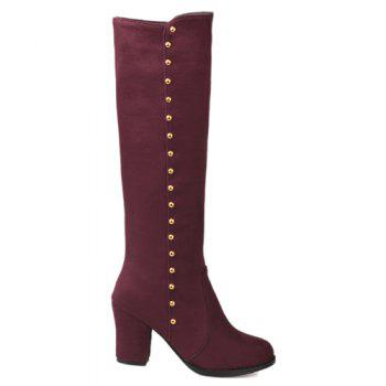 Stylish Rivet and Chunky Heel Design Women's Mid-Calf Boots - WINE RED 41