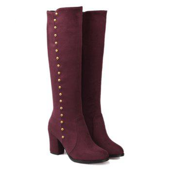 Stylish Rivet and Chunky Heel Design Women's Mid-Calf Boots - WINE RED 37