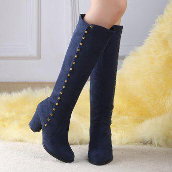Stylish Rivet and Chunky Heel Design Women's Mid-Calf Boots - BLUE 39