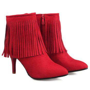 Stylish Fringe and Pointed Toe Design Women's Ankle Boots - RED 39