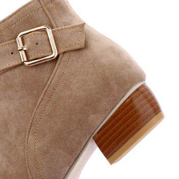 Stylish Buckle Strap and Zipper Design Women's Ankle Boots - APRICOT 39