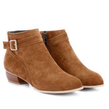 Stylish Buckle Strap and Zipper Design Women's Ankle Boots - BROWN 39