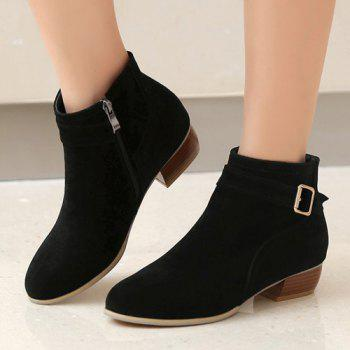 Stylish Buckle Strap and Zipper Design Women's Ankle Boots - BLACK 38