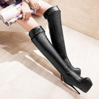 Trendy Stiletto Heel and Platform Design Women's Thigh High Boots - BLACK 37