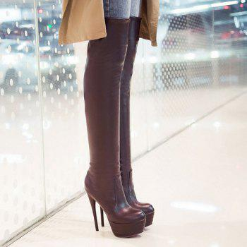 Trendy Stiletto Heel and Platform Design Women's Thigh High Boots - BROWN 43