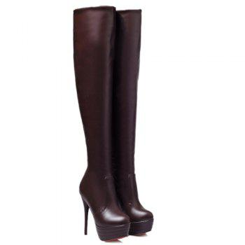 Trendy Stiletto Heel and Platform Design Women's Thigh High Boots - BROWN 42