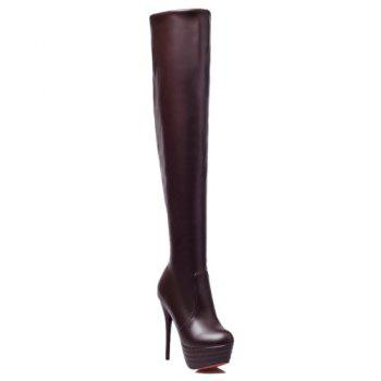 Trendy Stiletto Heel and Platform Design Women's Thigh High Boots