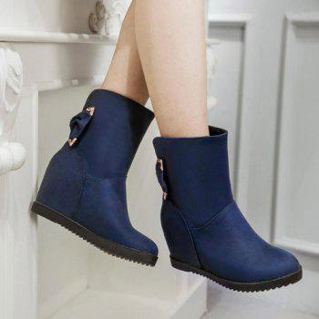 Stylish Bowknot and Increased Internal Design Women's Boots - DEEP BLUE 39