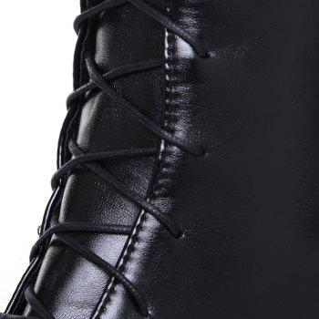 Trendy Front Lace-Up and Chunky Heel Design Women's Knee-High Boots - BLACK 43