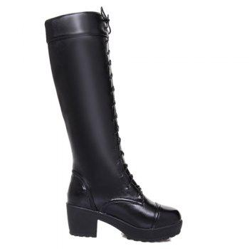 Trendy Front Lace-Up and Chunky Heel Design Women's Knee-High Boots - BLACK 38