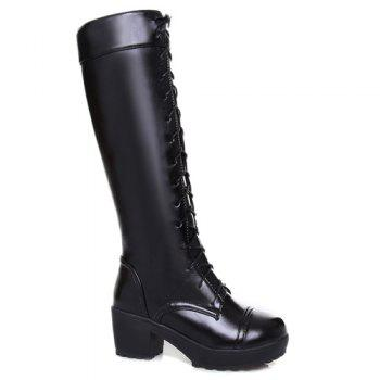 Trendy Front Lace-Up and Chunky Heel Design Women's Knee-High Boots
