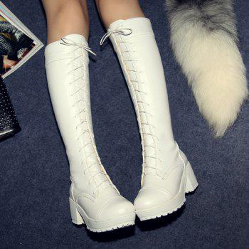 Trendy Front Lace-Up and Chunky Heel Design Women's Knee-High Boots - WHITE 43