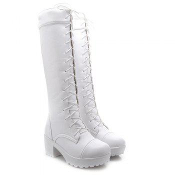 Trendy Front Lace-Up and Chunky Heel Design Women's Knee-High Boots - WHITE 37