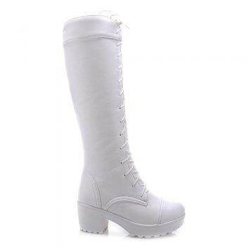 Trendy Front Lace-Up and Chunky Heel Design Women's Knee-High Boots - WHITE 38