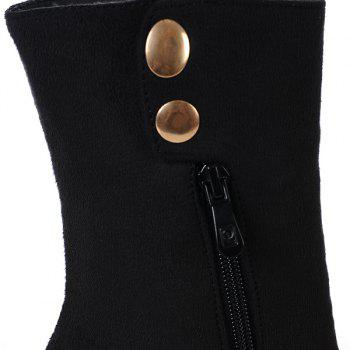 Stylish Criss-Cross and Flock Design Women's Boots - BLACK 41