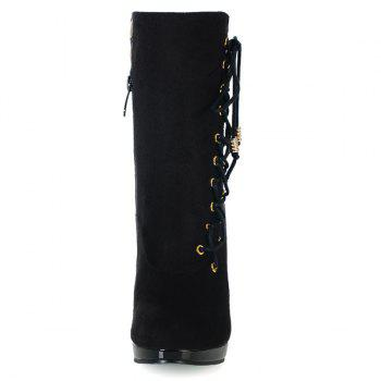 Stylish Criss-Cross and Flock Design Women's Boots - BLACK 39