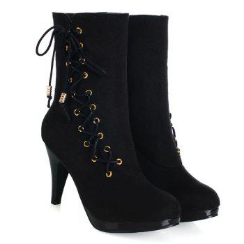 Stylish Criss-Cross and Flock Design Women's Boots - BLACK 37