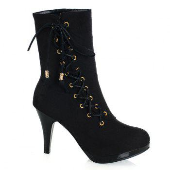 Stylish Criss-Cross and Flock Design Women's Boots - BLACK 38