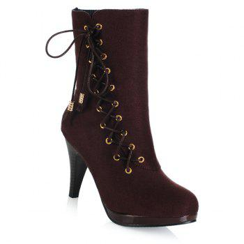 Stylish Criss-Cross and Flock Design Women's Boots - BROWN 39