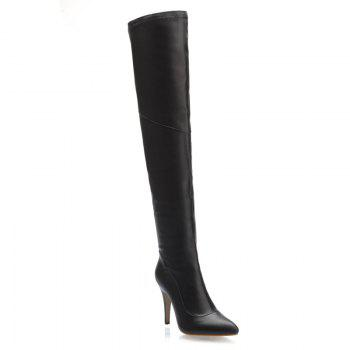 Stylish Pointed Toe and Stiletto Heel Design Women's Thigh Boots - BLACK 42