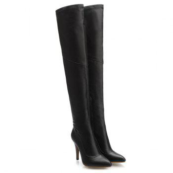 Stylish Pointed Toe and Stiletto Heel Design Women's Thigh Boots - BLACK 40