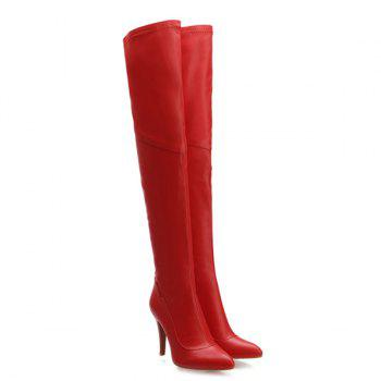Stylish Pointed Toe and Stiletto Heel Design Women's Thigh Boots - RED 42