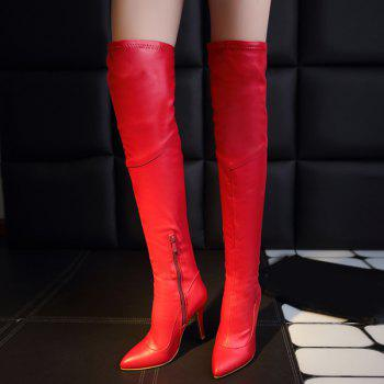 Stylish Pointed Toe and Stiletto Heel Design Women's Thigh Boots - RED 37