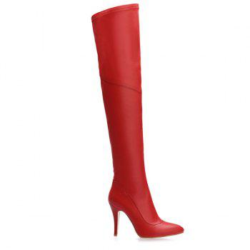 Stylish Pointed Toe and Stiletto Heel Design Women's Thigh Boots - RED 38
