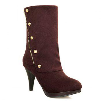 Trendy Rivet and Flock Design Women's Mid-Calf Boots - BROWN 39