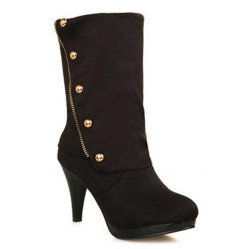 Trendy Rivet and Flock Design Women's Mid-Calf Boots - BLACK 38