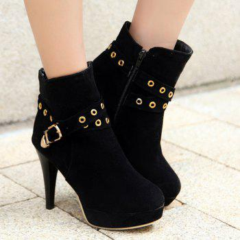 Stylish Eyelet and Buckle Design Women's Ankle Boots - BLACK 41