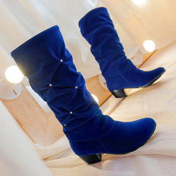 Trendy Ruched and Rhinestone Design Women's Mid-Calf Boots