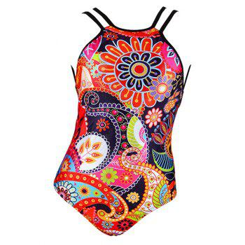 Charming Abstract Floral Print Backless Women's Swimwear