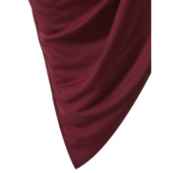 Novelty Long Sleeve Asymmetrical Overlay Dress - WINE RED L