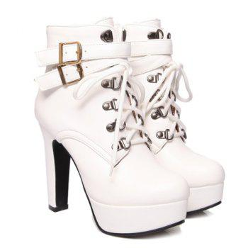 Fashion Tie Up and Double Buckle Design Women's Short Boots - WHITE 39