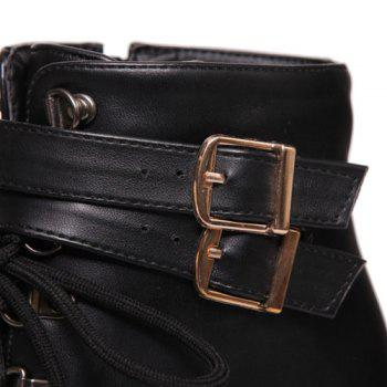 Fashion Tie Up and Double Buckle Design Women's Short Boots - BLACK 37