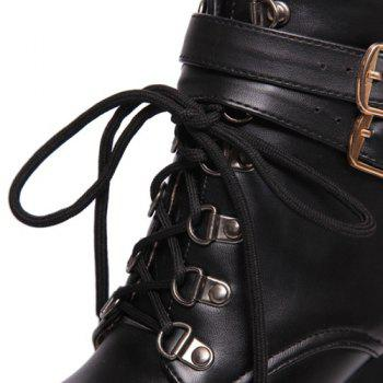 Fashion Tie Up and Double Buckle Design Women's Short Boots - BLACK 38