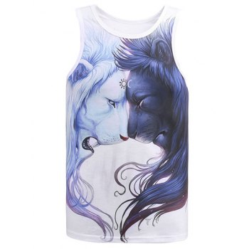Round Neck 3D Lions Printed Tank Top - WHITE XL