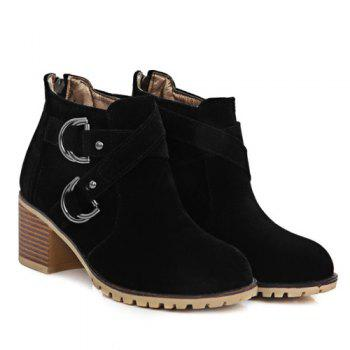 Stylish Metal and Cross Straps Design Women's Ankle Boots - BLACK 39
