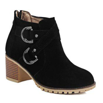 Stylish Metal and Cross Straps Design Women's Ankle Boots
