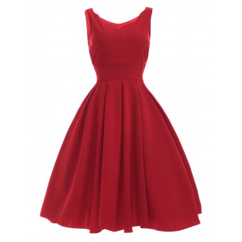 Vintage Sweetheart Neck Red Pleated Dress