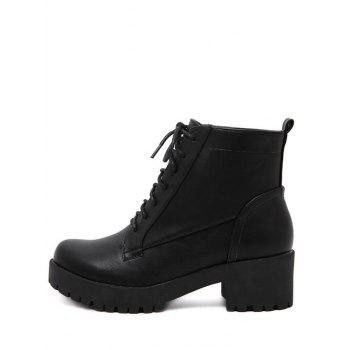 Trendy Black and Chunky Heel Design Women's Short Boots - BLACK 37