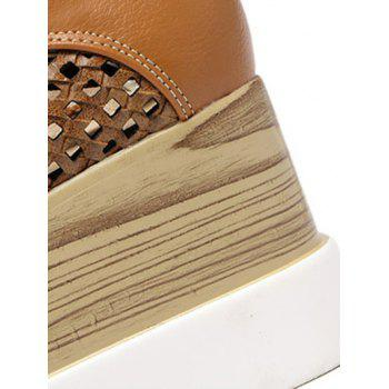 Trendy Hollow Out and Lace-Up Design Women's Platform Shoes - LIGHT BROWN LIGHT BROWN
