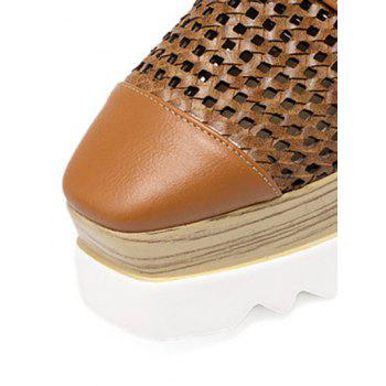Trendy Hollow Out and Lace-Up Design Women's Platform Shoes - 38 38