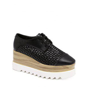 Trendy Hollow Out and Lace-Up Design Women's Platform Shoes - BLACK 40