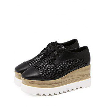 Trendy Hollow Out and Lace-Up Design Women's Platform Shoes - 40 40